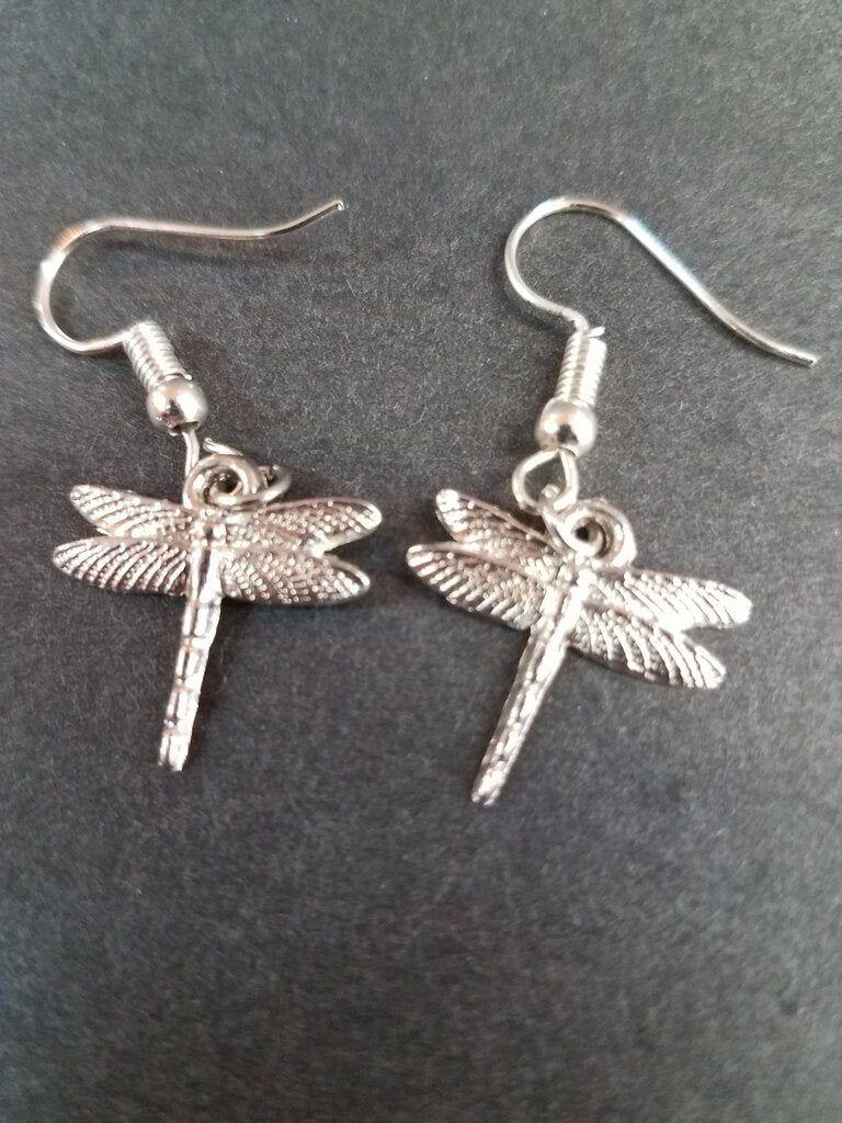 Silver Dragonfly Dangles