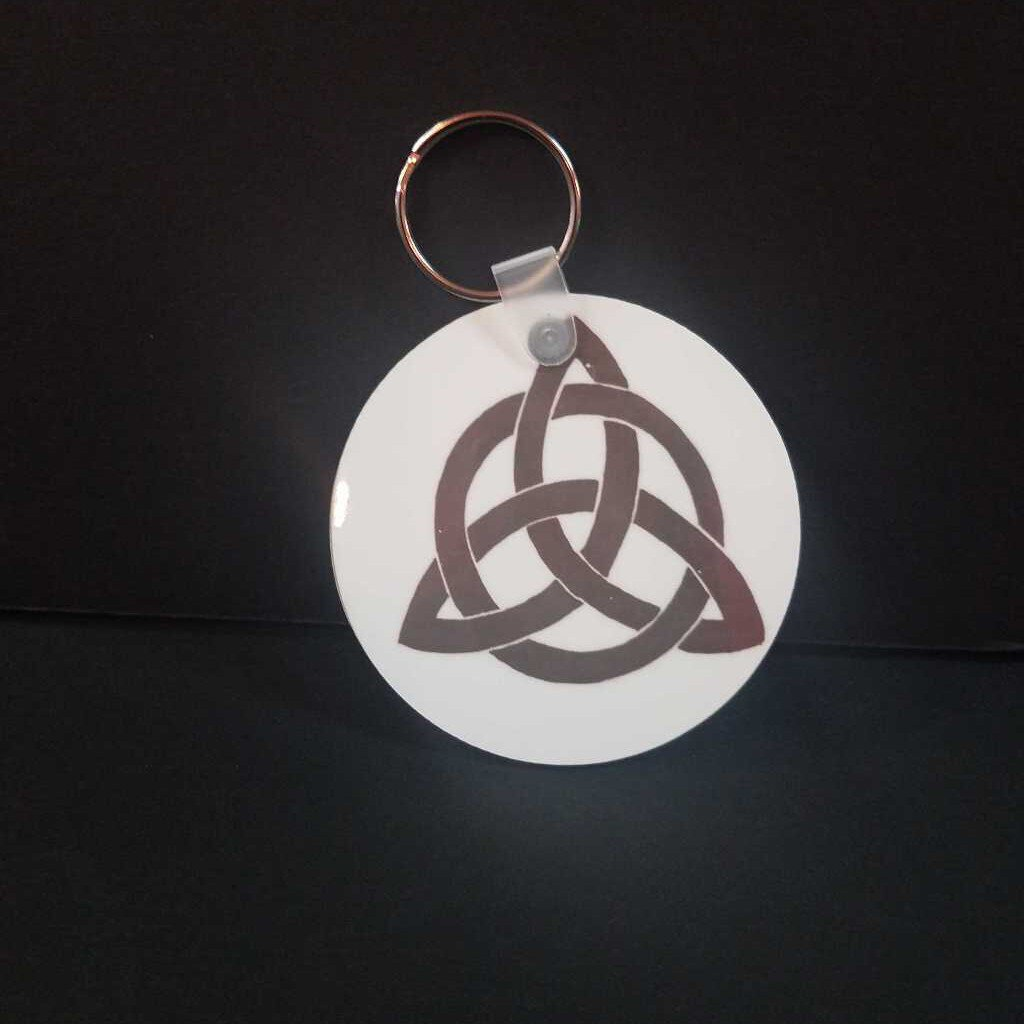 Triquetra & Red Blessed Be Key Chain