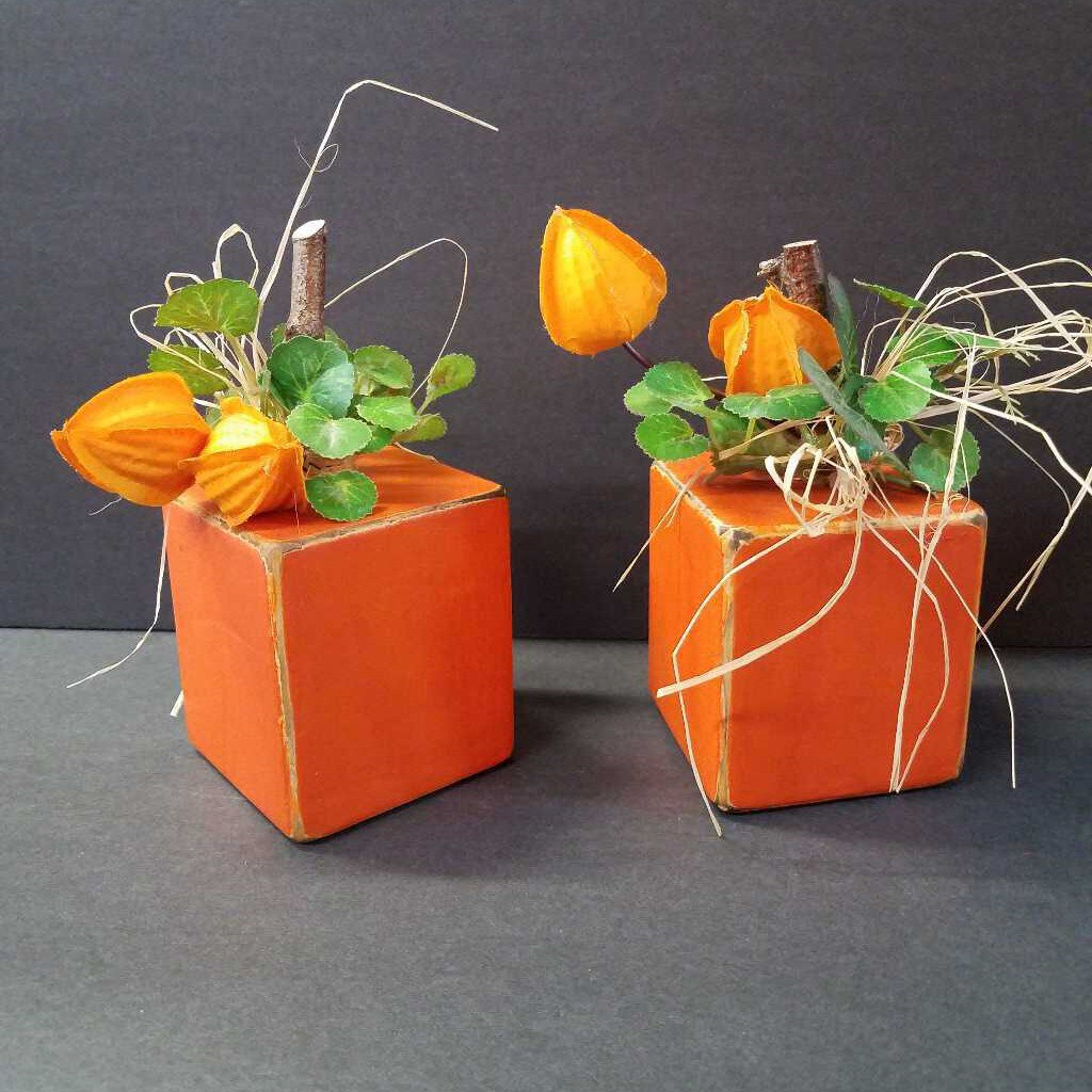 Small Pumpkin Block Decor