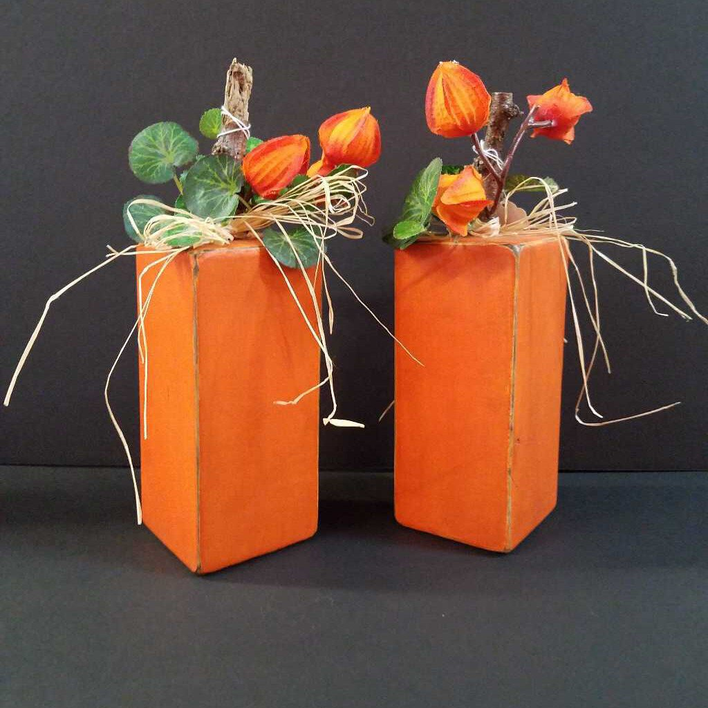 Tall Wood Pumpkin Blocks Décor
