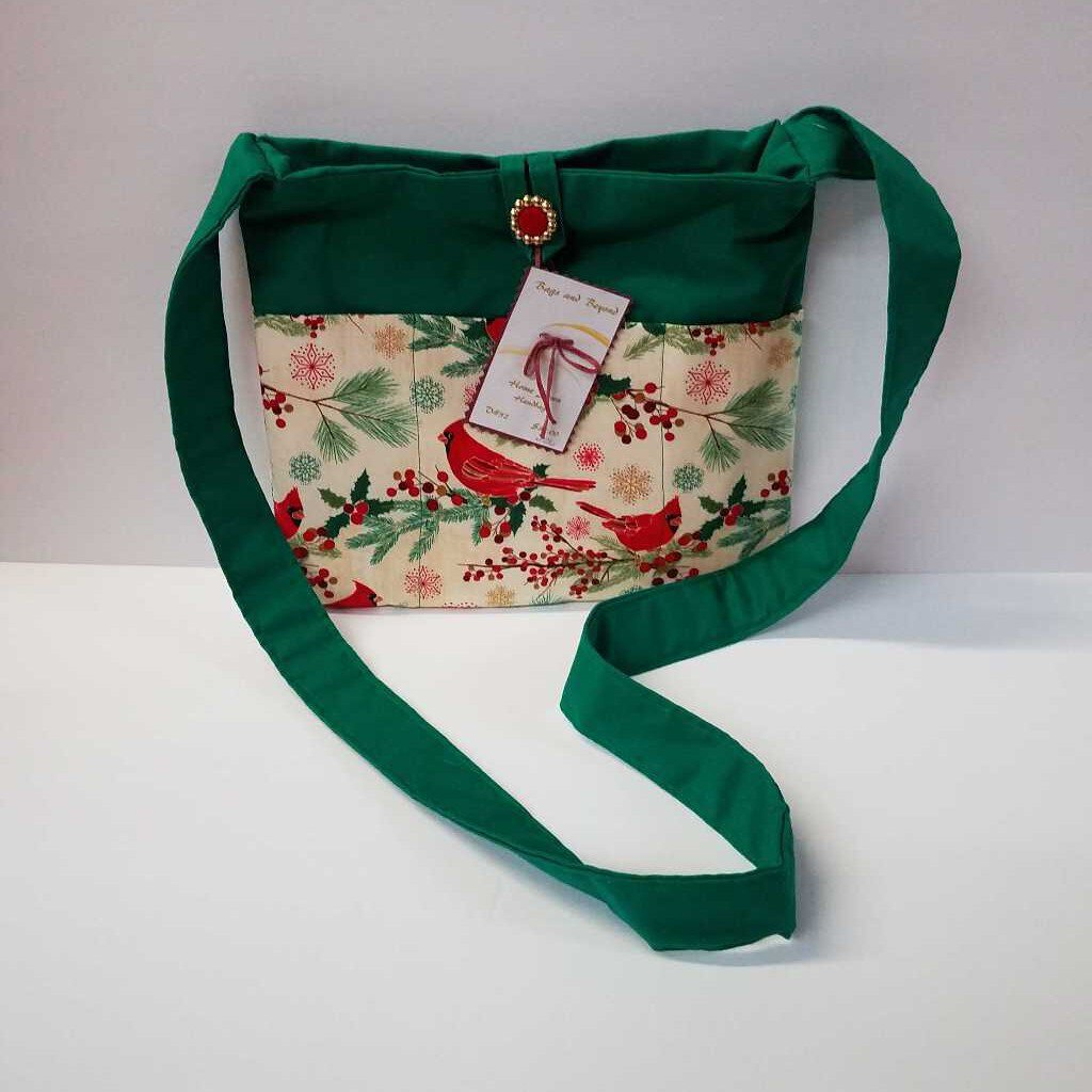 Green & Cardinal Medium Crossbody Purse