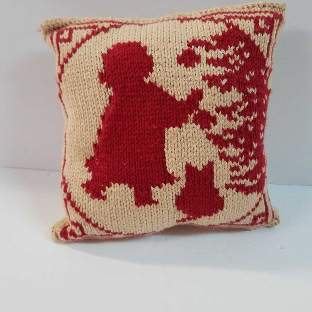 "Knitted Mini Pillow ""Girl & Tree"""