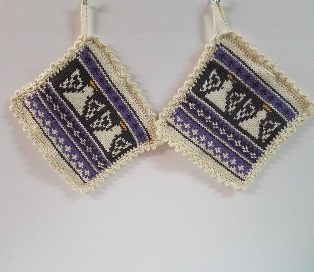 "Knitted Angel Pot Holder Set ""Purple"""