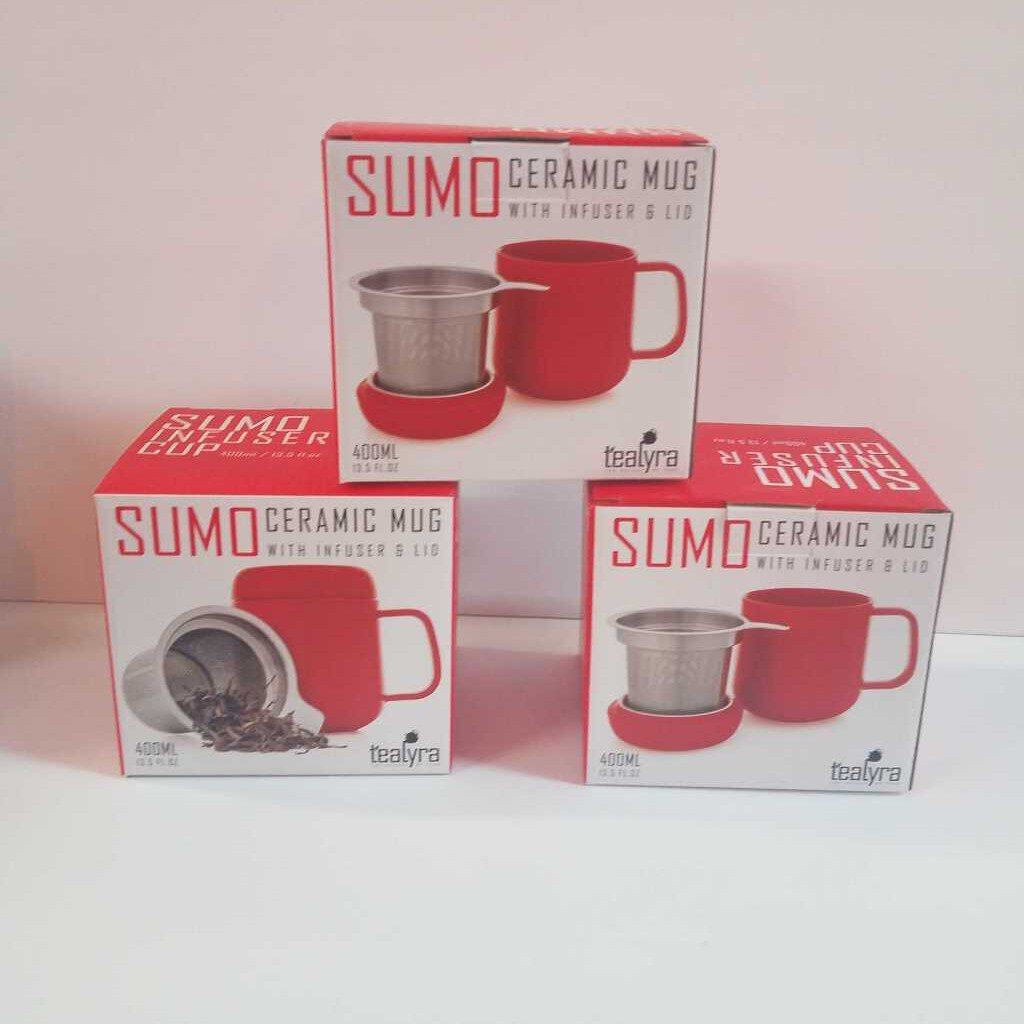 "Sumo Ceramic Mug with infuser & Lid ""Red"""