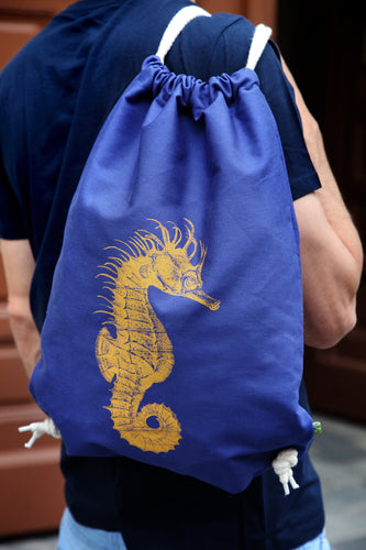 seahorse bag cotton bio woodcarving siebdruck screen-print handdruck