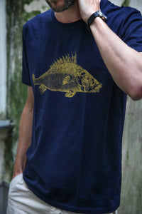 tshirt cotton siebdruck screenprinting HQ wood fish vintage zoology 1800s handdruck
