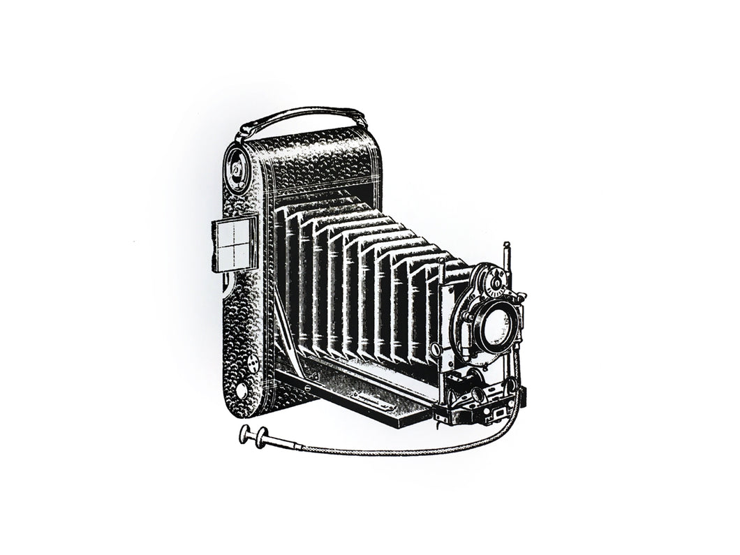 vintage photo camera screen-printed Illustration old books technic engineering technology