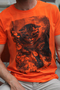 tshirt cat katze tiere animals vintage zoology books woodcarving siebdruck screen-print handdruck