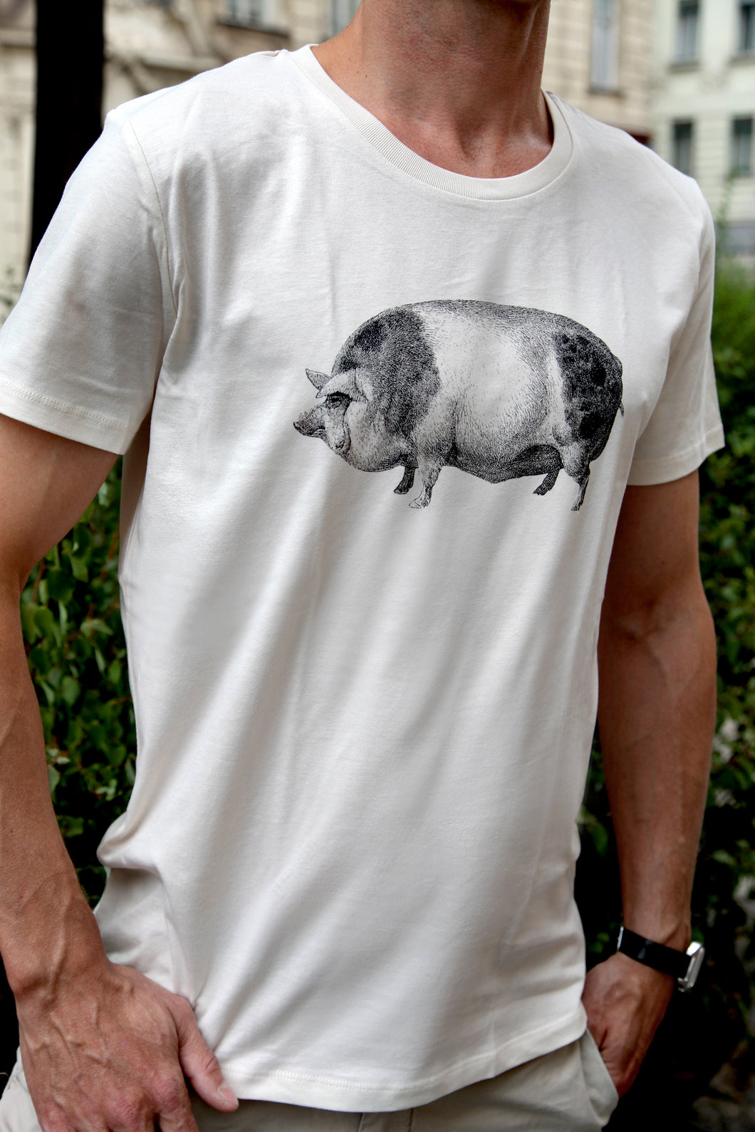 tshirt cotton woodcarving screenprinting HQ pig schwein