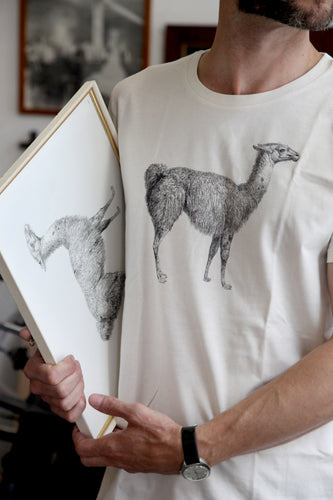tshirt llama animal woodcarving 1800s books siebdruck handdruck screen-print