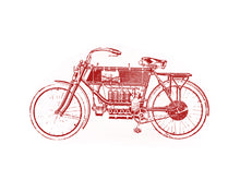 Load image into Gallery viewer, vintage moto-bike screen-printed Illustration old books technic engineering