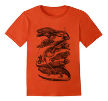 Load image into Gallery viewer, reptiles tshirt woodcarving silkprint handdruck