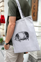 Load image into Gallery viewer, Tote-bag pig woodcarving siebdruck screen-print handdruck
