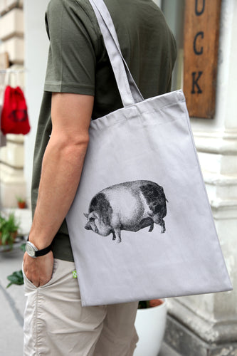 Tote-bag pig woodcarving siebdruck screen-print handdruck