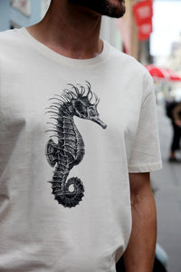 seahorse tshirt woodcarving zoology siebdruck screen-print handdruck