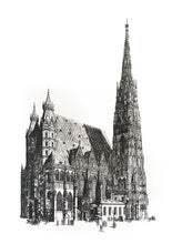 Load image into Gallery viewer, architecture stephansdom vienna illustration vintage 1800s siebdruck screen-print handdtuck