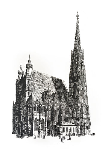 architecture stephansdom vienna illustration vintage 1800s siebdruck screen-print handdtuck