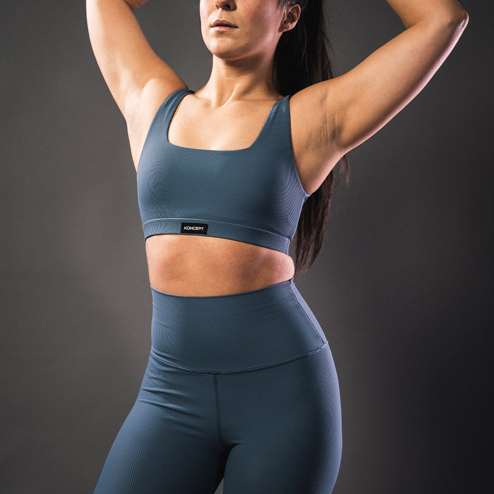 Ribbed Sports Bra - Steel - Koncept Fitwear