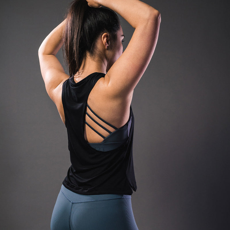 Bamboo Cropped Tank Top - Black - Koncept Fitwear