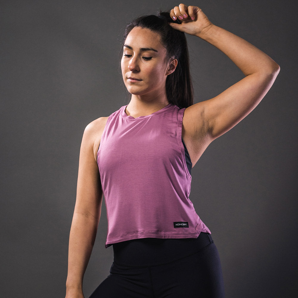 Bamboo Cropped Tank Top - Orchid - Koncept Fitwear