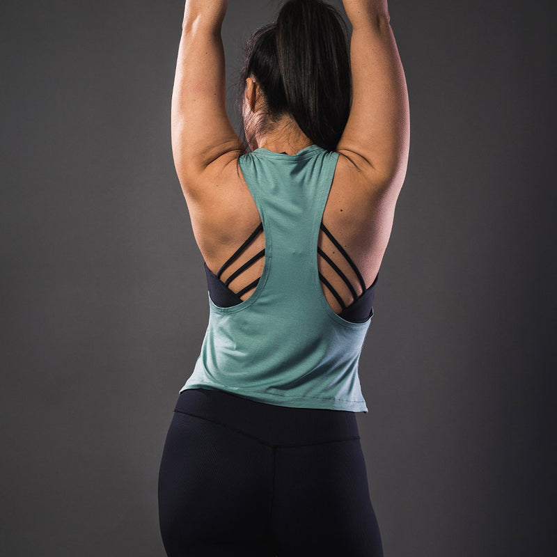 Bamboo Cropped Tank Top - Sea Green - Koncept Fitwear