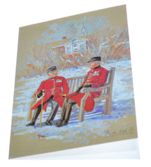 Chelsea Pensioners with Robin in Snow Christmas Cards (10 pack)