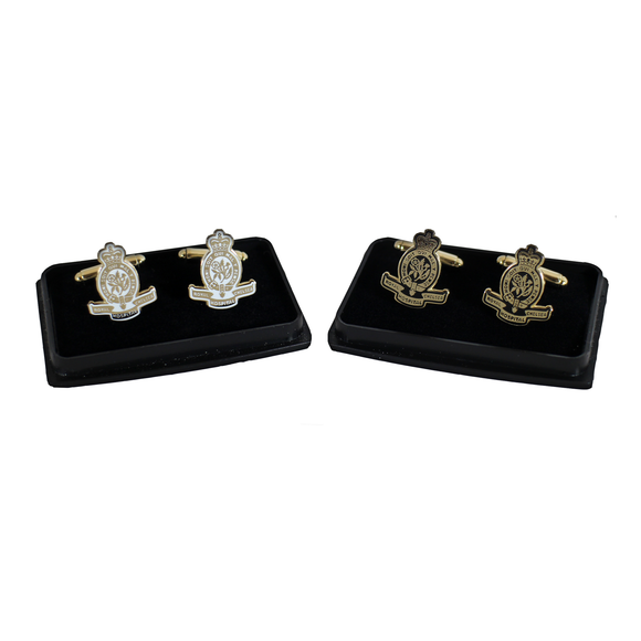 Gold Crest Cufflinks with either white or black background