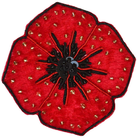 Diamonte Poppy Brooch