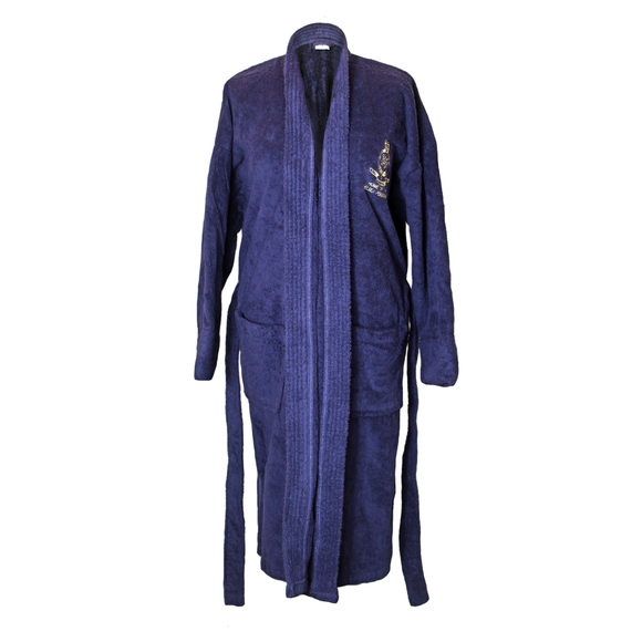 Navy Towelling Bath Robe REDUCED from £45 to £35