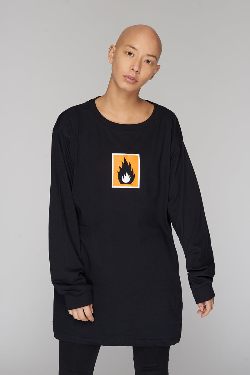 Long Clothing Highly Flammable Long Sleeve Black