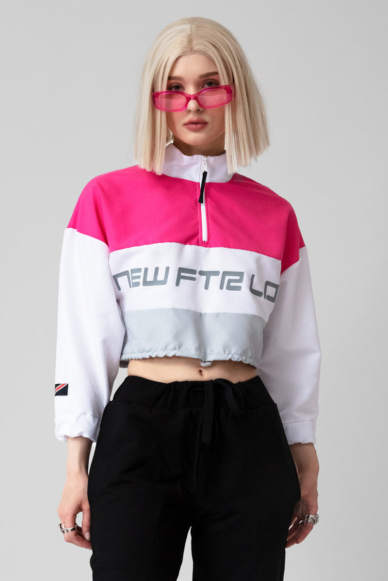 Racer Logo Cropped Windbreaker (Pink/Grey)