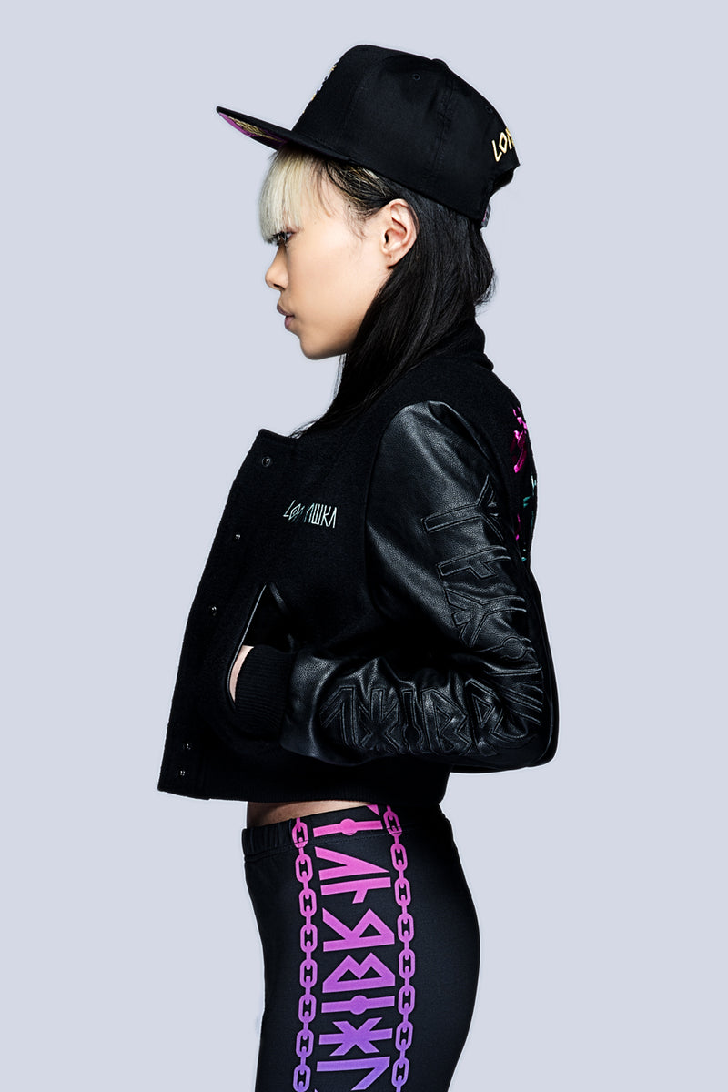 Death Adder Chain Crop Varsity Jacket (B)-3444