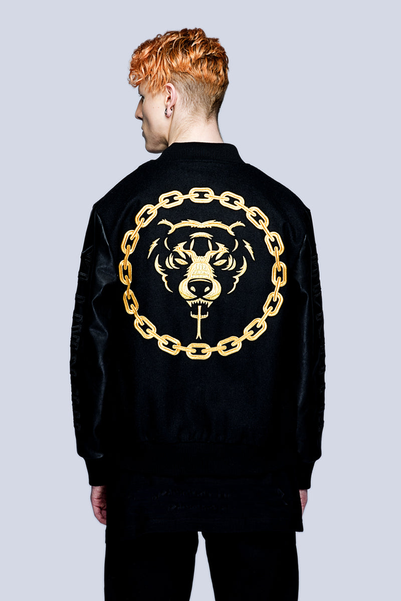 Death Adder Chain Varsity Jacket (Gold)-0
