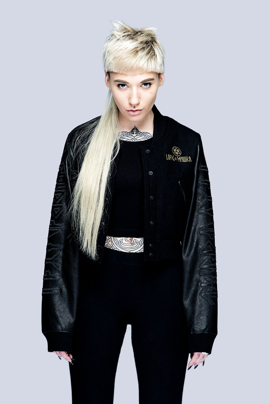 Death Adder Chain Crop Varsity Jacket (Gold)-3370