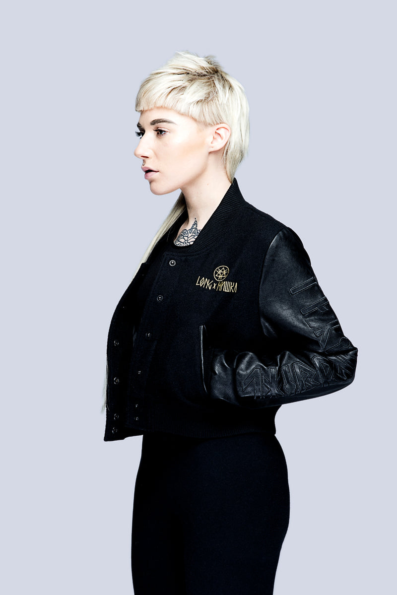 Death Adder Chain Crop Varsity Jacket (Gold)-3371
