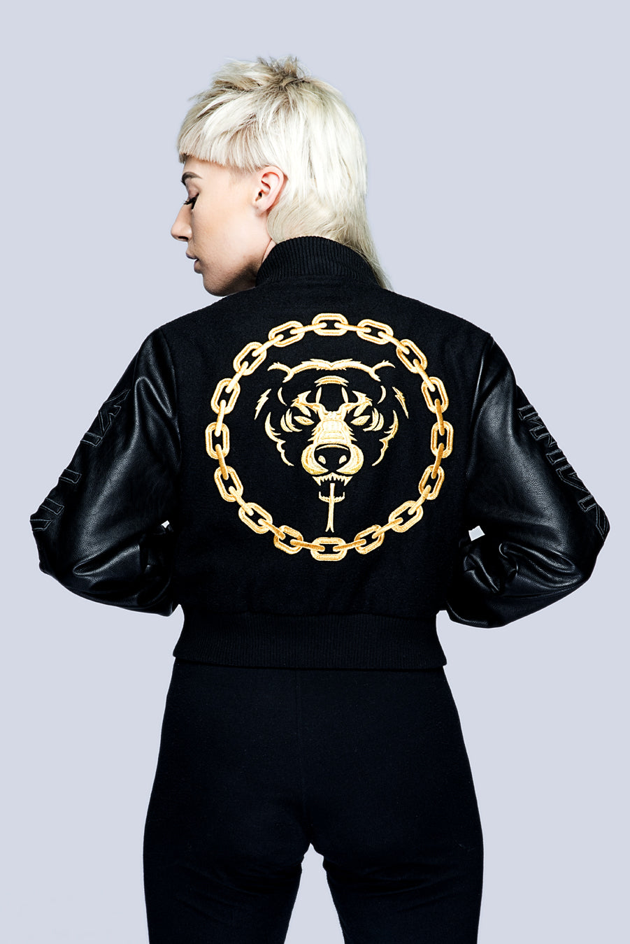 Death Adder Chain Crop Varsity Jacket (Gold)-0