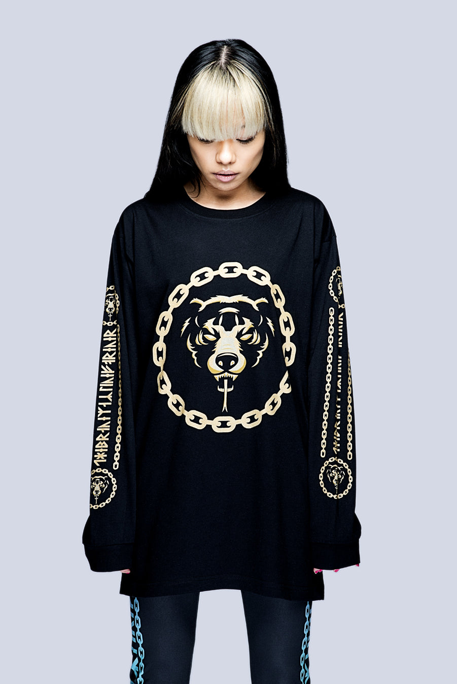 Death Adder Chain Long Sleeve Tshirt (Gold) -0