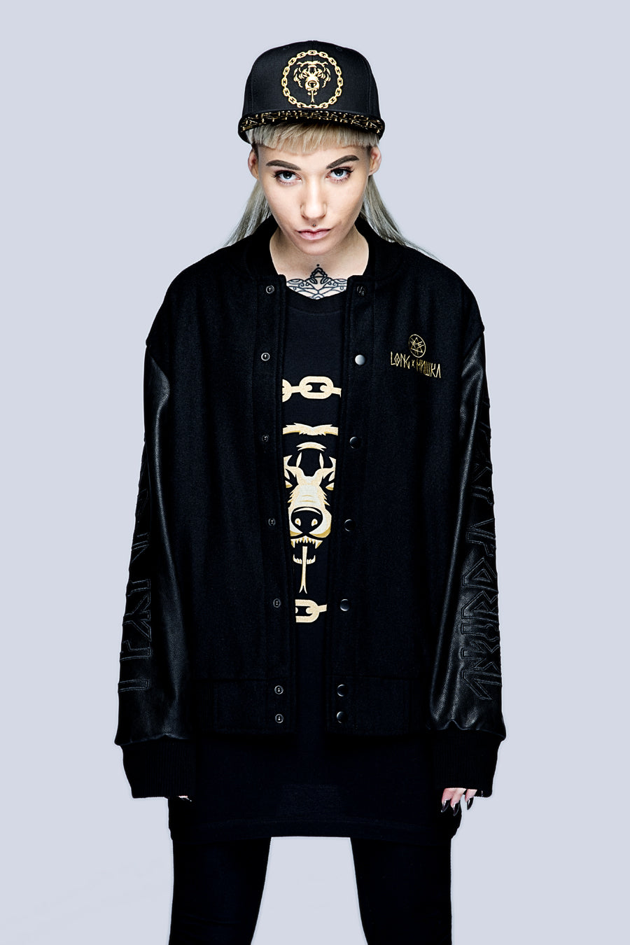 Death Adder Chain Varsity Jacket (Gold)-3380
