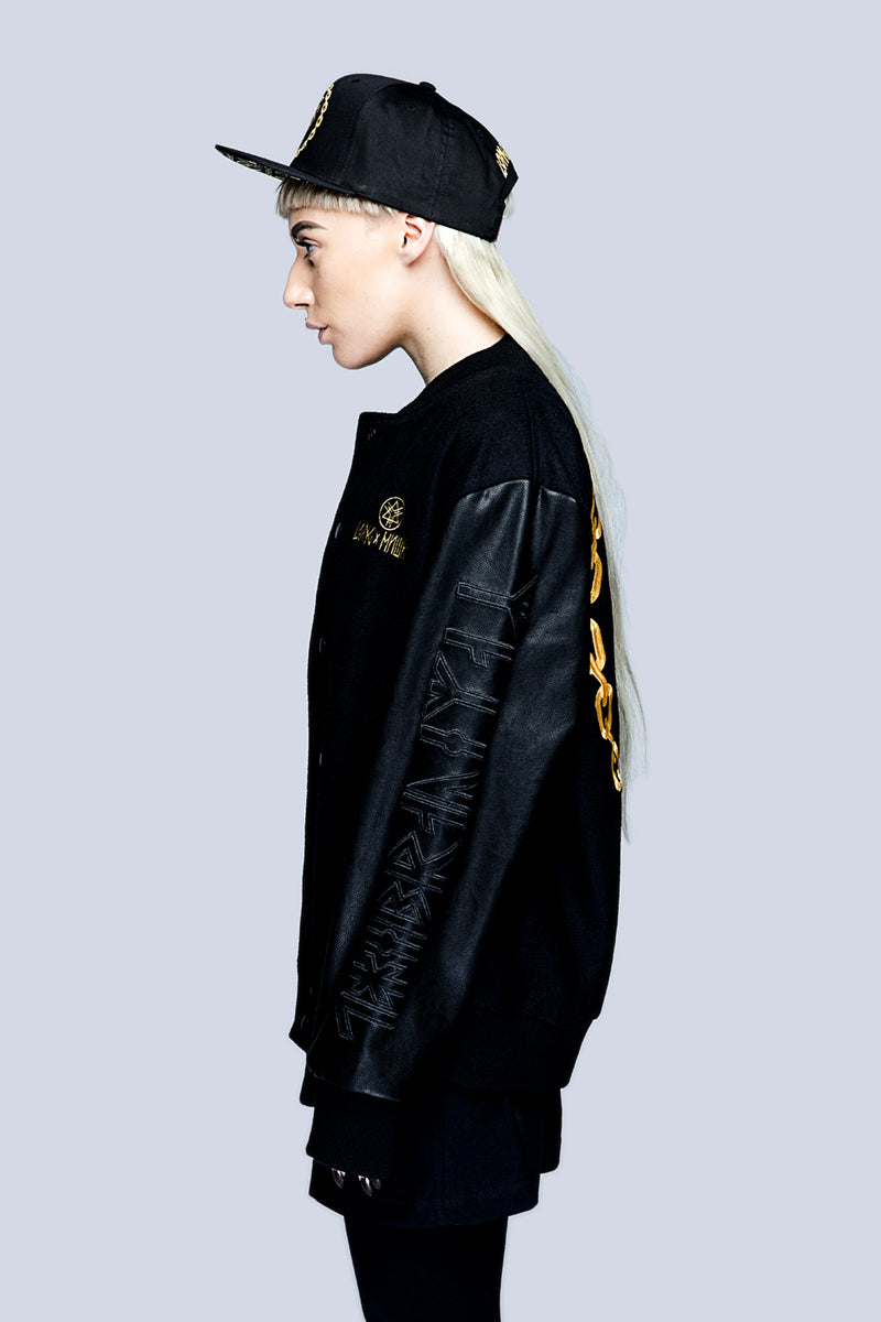 Death Adder Chain Varsity Jacket (Gold)-3381