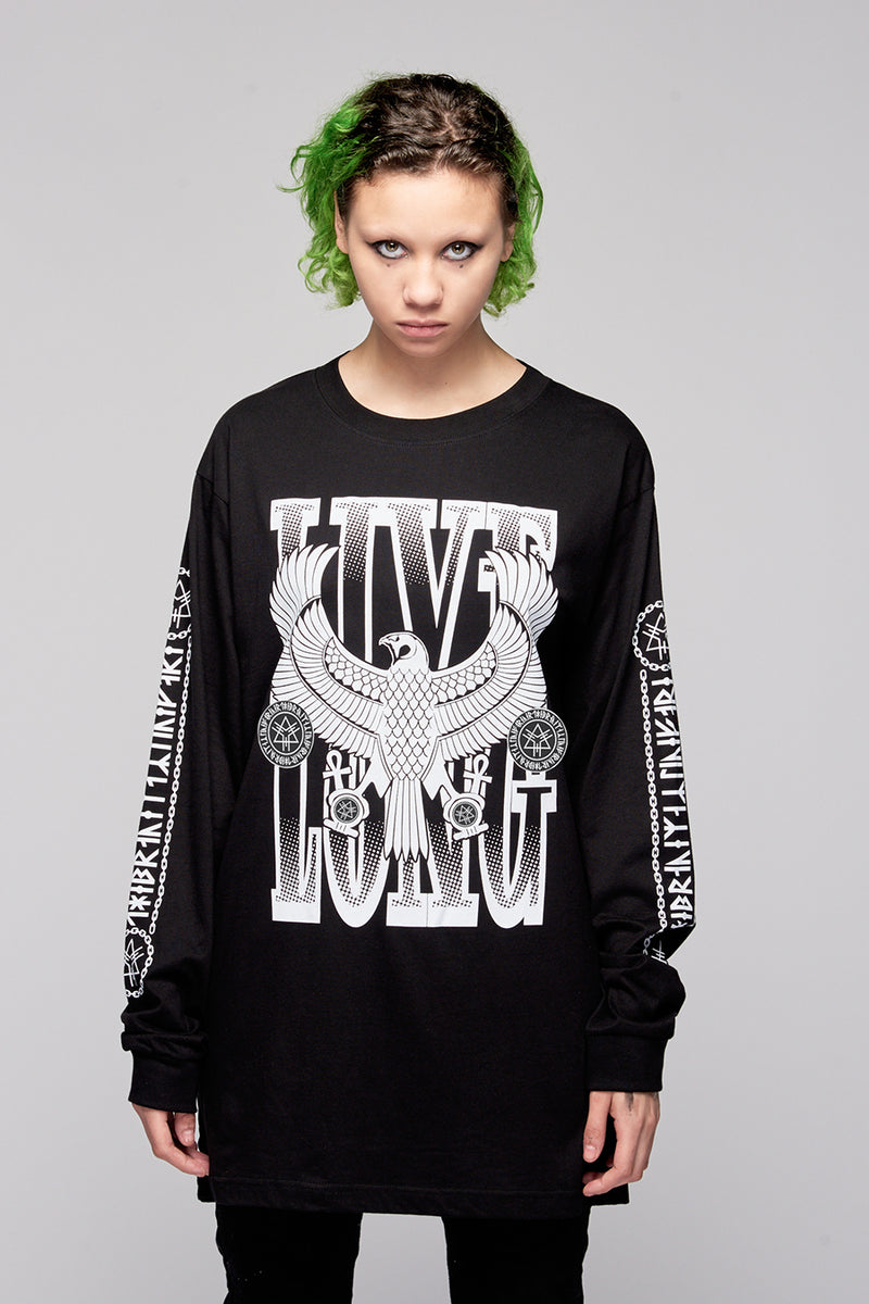 Live Long Eagle Long Sleeve (B/W)-4094