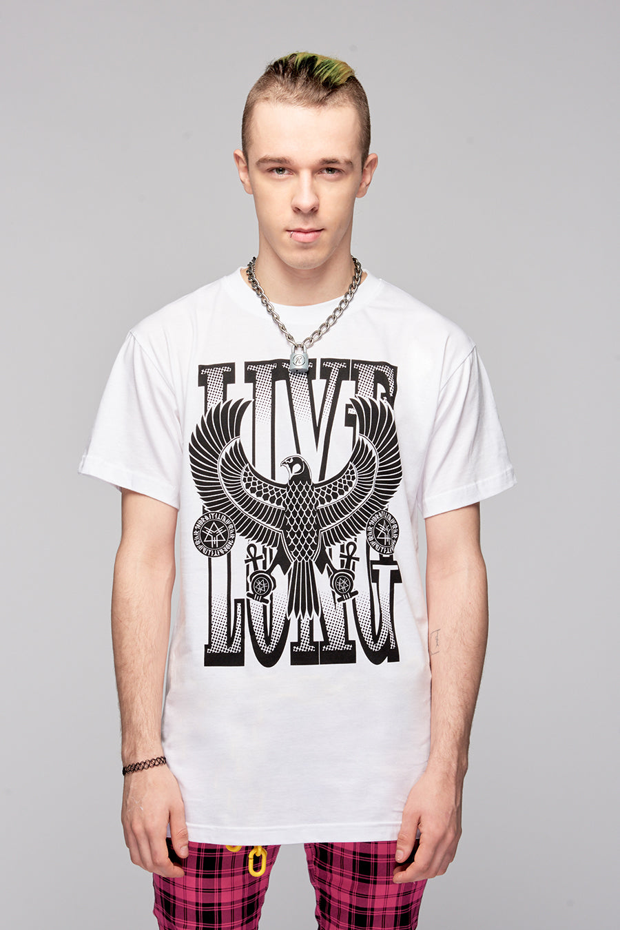 Live Long Eagle White Tee (W/B)-4123