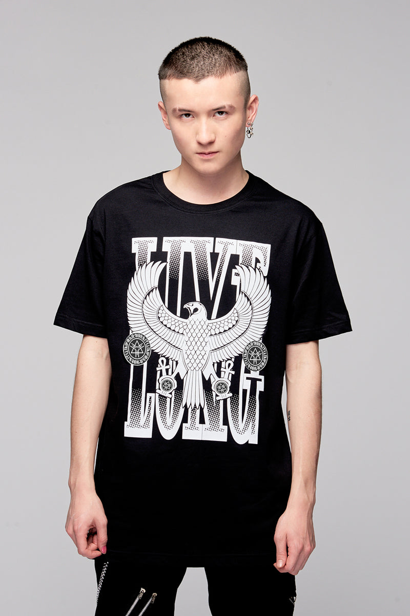 Live Long Eagle Black Tee (B/W)-0