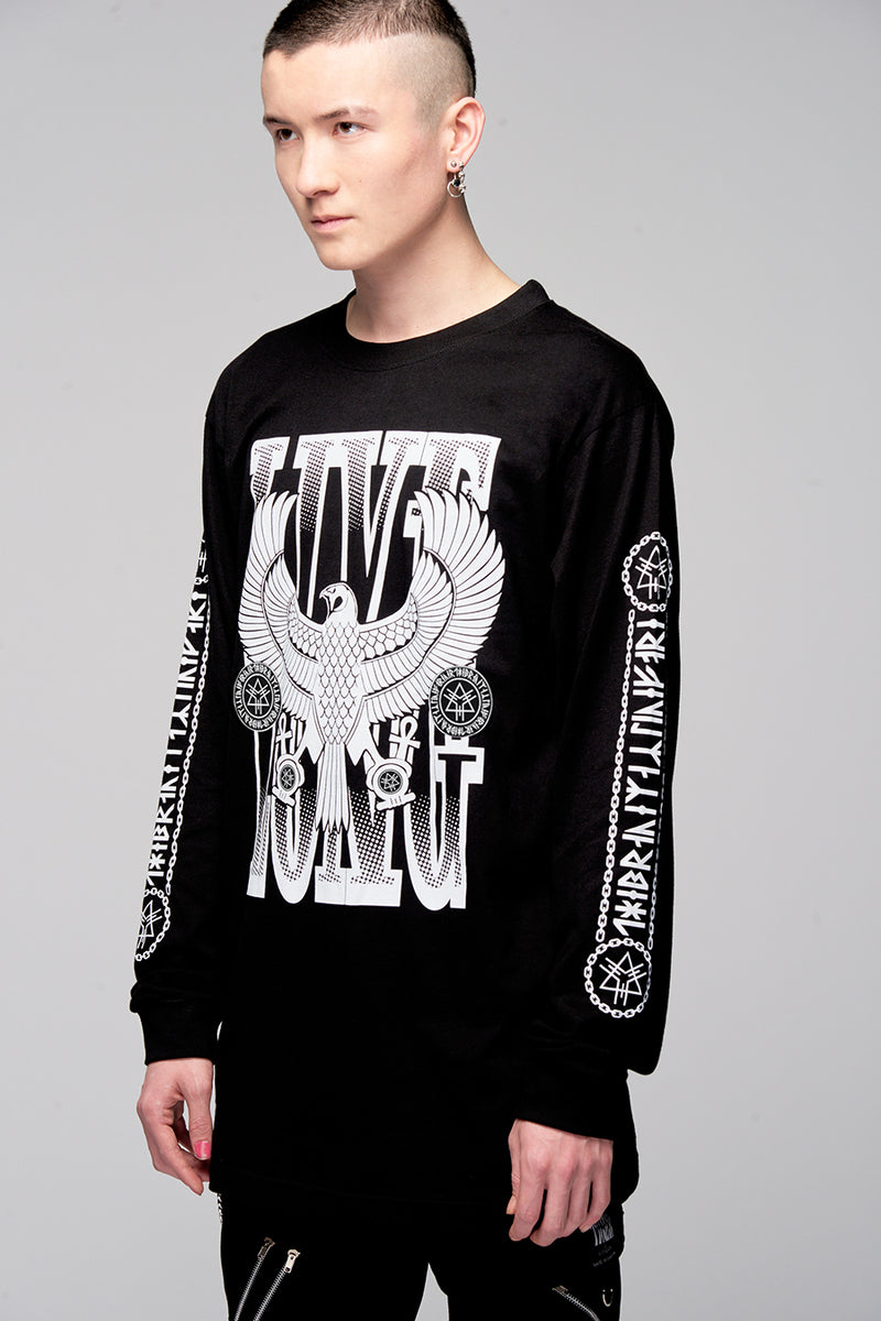 Live Long Eagle Long Sleeve (B/W)-4132