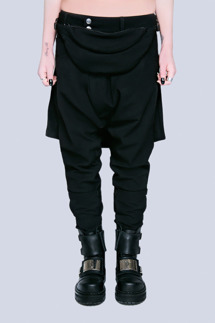 Long X Orphanage Clip Pants (Black)-1864