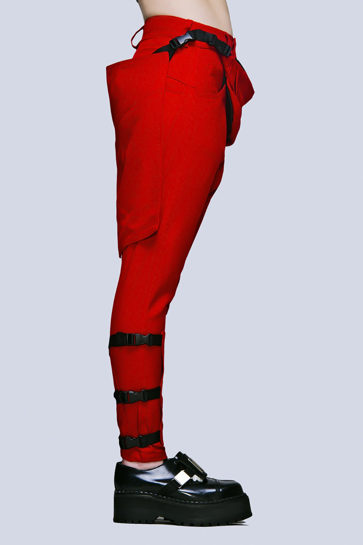 Clip Pants (Block Red)-1872