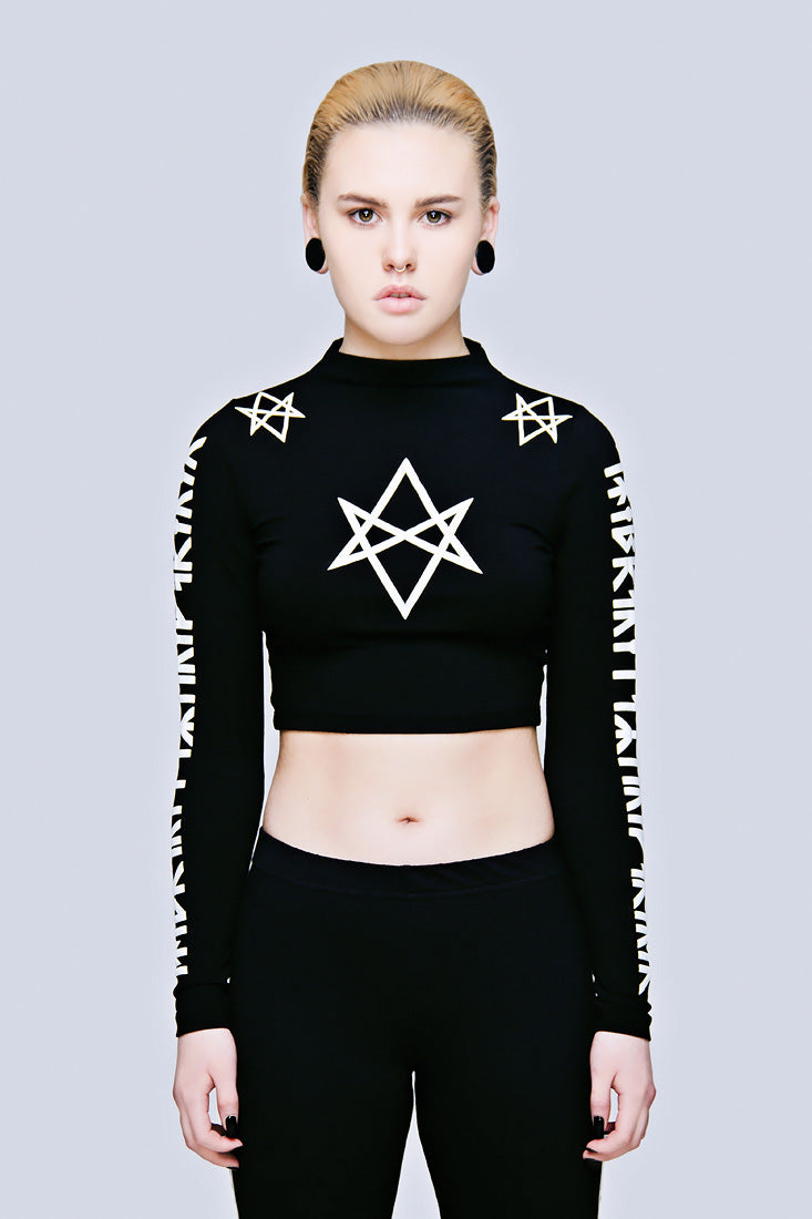 Hexagram Crop Top - Long Sleeve (B)-0