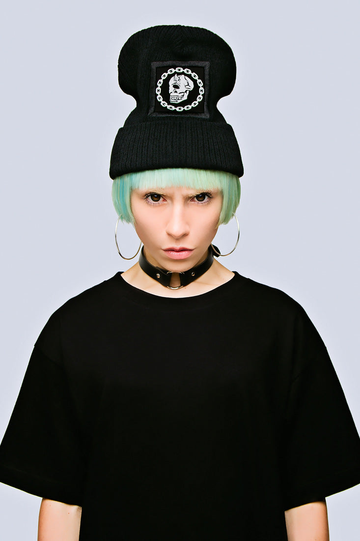 Mishka Chain Beanie - Large Patch-0