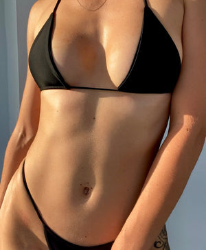 Womens triangle bathing suit top in black