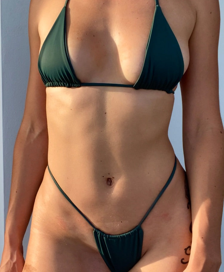 Olive green high waist bikini bottoms