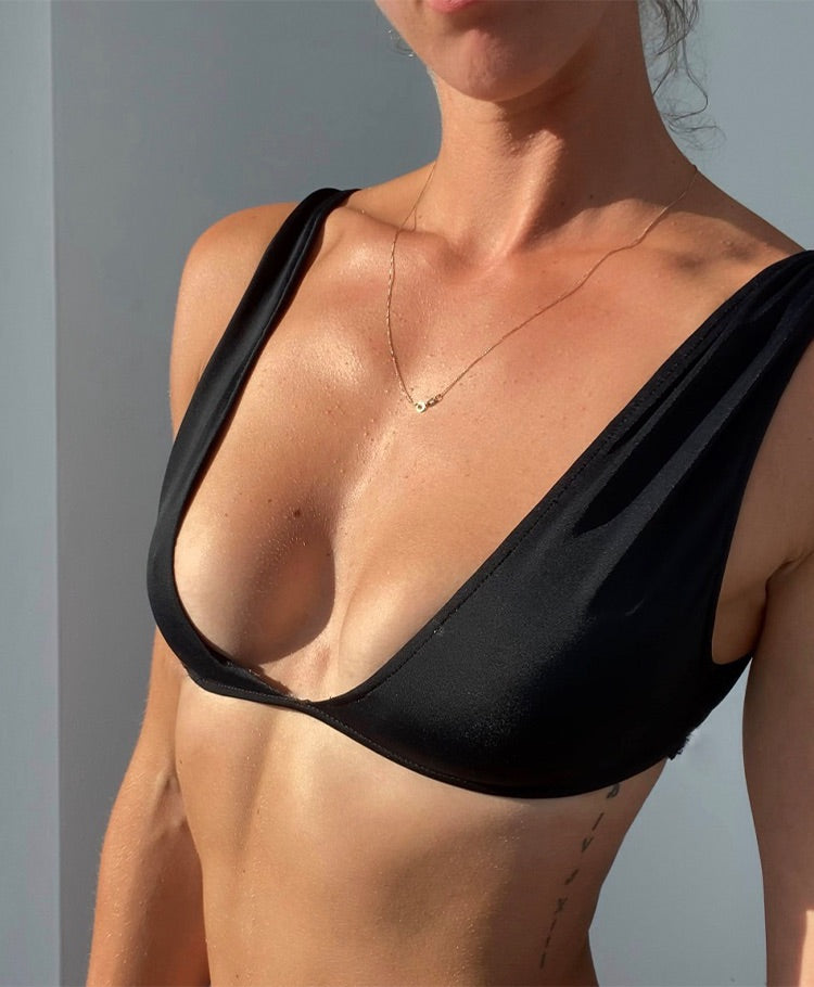 Thick strap v-neck bathing suit top made by hand in Miami